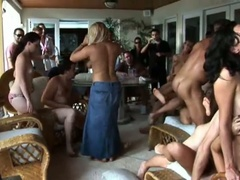 Hot summer party with an fuckfest of engulfing and fucking