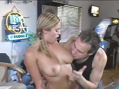 Babe in the pool room sucks his large knob