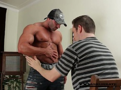 Massive muscles stripper max getting worshipped by horny guy