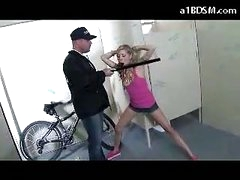 Wicked Blonde Gal Getting Shackled Cookie Rubbed With Baton Giving Oral-service For The Security Guard In The Public Toilette