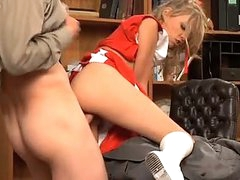 Naughty Cheerleader Nicole Ray Gets Her Tight Little Twat Stuffed With Huge Cock