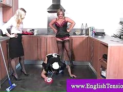 Female-dominant enforced cleaning to sissy guy