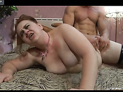 Excited mom lets a muscle fellow hike up her petticoat for a from-behind frenzy