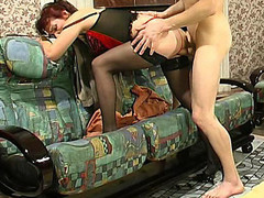 Mature mastix in hawt lingerie teaching a exposed dong-strong fellow to behave