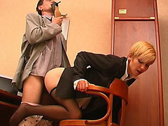 Concupiscent co-worker sniffing high heel shoes whilst fucking sexy gal in black pantyhose