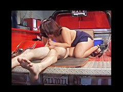 This horny older pervert craves to try fitting his big chubby knob in a really taut muff and ends up fucking some shameless midget whore hard and loud right in the back of his red pickup truck.