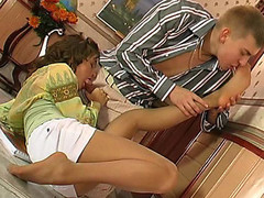Excited gal giving footjob previous to getting her hose ripped with rocky shlong