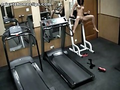 Just look at this vicious brunette hair chick going crazy in the gym when alone! 1st she's exercising in no thing but nylon hose and then she's stripping it likewise and spreading her kewl legs wide as if gagging for unfathomable penetrations!