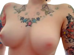 The perfect emo girlfriend featured on this oozed private webcam episode scene is wearing no thing but her sexy tattoos during the time that this sweetheart fingers her pussy and booty for her cyber show fans! That sweetheart fucks herself with dildos too!