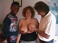 Spruce crumpet with huge soft bra buddies gets willing to satisfy even 2 rock hard dicks! That babe sucks one as well as the other rods and moves on 'em furiously!
