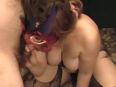 A lady with big mambos gets herself off with a toy as I suck her breasts. She cums loudly then sucks the cum out of my cock swallowing the load. Groaning with glee this babe then rubs my soaked drained penis on her nipple.