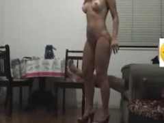 Sex dominatrix-bitch with long flowing hair knows how to please her BF visually by getting naked in her heels and showing a little pubic hair line on her cunt. He fucks her hard core on the chair and makes them the one and the other cum.