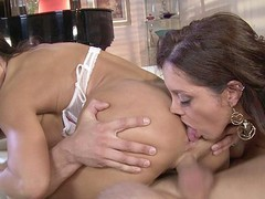 Darksome Brown MILFs Francesca Le and Lisa Ann love to share, especially when it comes to sex.  They take turns French giving a kiss and feeling every other's bodies in advance of going to work on this lucky guy's hard rod.  They have a wild time taking turns banging him in advance of they kneel down for the double facial.