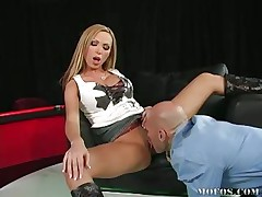 Huge tits hawt golden-haired spreads her legs and acquires her cunt licked by this guy. That chick screams with enjoyment as that fellow eats her hairless pink wet vagina. After that, she acquires her ass fucked from behind and maybe that fellow will give her some hawt semen on her beautifull ass and hawt hot legs.