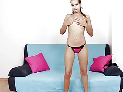 Do u have a fun watching this, does it gives u a boner? Her name is Ferrera and her hot butt, long hot legs and pretty face can make any chap insanely horny. This cute babe undresses and shows u her shaved pussy from behind, gaping that cookie real fine with a little help from a chap so u can watch how it looks inside. I think we bought acquiesce that that babe could use some semen deep inside her vagina.