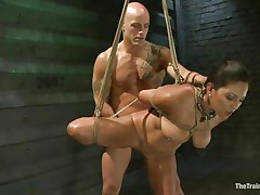 Such a cutie needs a hard fuck and some humiliation and that is exactly what the bald man gives helped by his buddy. He bonks her vagina from behind and then grabs her mouth so that honey would pay attention on what he says. Seeing her dominated truly makes u thinking if that honey will behave from now on.