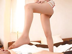 With a pair of smokin' sexy legs like that what man wouldn't desire to be at her feet. Akiho is a 29 yo Japanese angel that has a feet fetish. This playgirl likes dressing on a hose and rubs dong with her feet. This playgirl puts some pressure on that weenie and looks at it with pleasure. will that babe acquire some cream on her thighs?