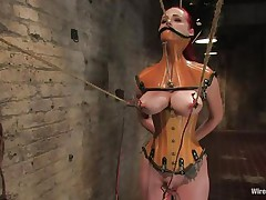 That hottie was a very bad milf, that hottie dominated and drilled a lot of gals and now it's time for her to be disciplined. Her pussy is starting to get truly soaked because the brunette domina tied her, added clamps on her nipps and pulled them hard. That hottie is immobilized and now has to suffer until that hottie will become an obedient slut.