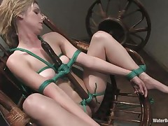 Fayth is tied up on that chair and has a sex toy tied real thigh on her hawt body. That babe is sucking the sex toy and acquires submersed in water for being a bad girl. Now that babe is lustful and wet and proceeds sucking that sex toy with even greater quantity lust. Will her executor give her the real thing to engulf and swallow?