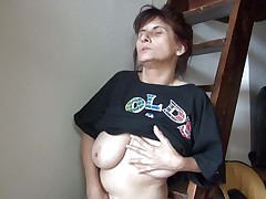 Old lady Vlasta receives so turned on on a ladder and takes her clothes off, during the time that touching her vagina and tits so hard. That babe keeps fingering her wet snatch and groaning with so much pleasure. Then, the wench sits down and spreads her legs 'coz she is ready to cum on a little red slide. Wanna know how this`ll end?