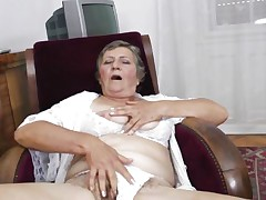 Watch this short haired granny masturbating in her room. This babe is alone and this babe needs to calm the doxy inside her who needs knobs to fuck. So this lady has only one way to survive. That is playing on her own! Watch how this babe is groping her own tits and then rubbing her bawdy cleft previous to doing a nice fingering!