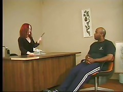 Cute redhead midget asks this tall large black stud to stand up and then takes his cock in her mouth, wrapping those red sexy lips around it. This is at an interview and that stud better fuck that midget wench priceless to take the job. Look at her engulfing his jock with passion, this babe loves it and then undresses, maybe we are going to watch some hardcore fuck? If that stud wants the job that stud will do as requested from this midget slut.
