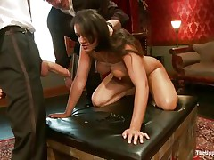 Dark brown wench Penny is a slave at a sex party. This babe is made to engulf hard cocks, then gets her wazoo spanked. A big vibrator will solve the situation very well, making her slit so soaked and hot. The guy sticks his dick in her cum-hole from behind, but she wants to engulf some greater amount and begins sucking the dildo!