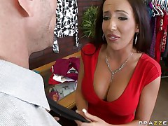 Johnny Sins is getting on one of his workers for trying to  steal something. Look at her long hair, her large fat milk cans and the way this sweetheart moans during the time that this guy licks her hard nipples. Do u think this sweetheart is going to take some 10-Pounder in that smutty mouth?