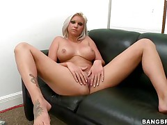 Slut with short golden-haired hair, Deadra Dee, is showing her big titties and spreading her legs as this hottie widens her love tunnel for u too. Watch her soaked love tunnel as this hottie is masturbating for pleasure. On a couch, expecting for a 10-Pounder with her nude body this bitch is willing to receive drilled hard. And as a rod came, this hottie started blowjob instantly!