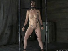 Gagged cutie with clamped nipples receives wild joy