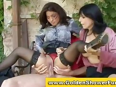 Lady pissing in hot Three-some