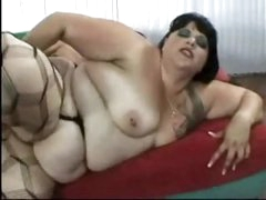 Corpulent fuck in stockings screwed in the arse