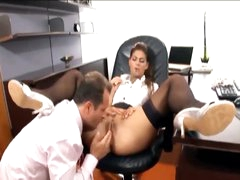 His secretary likes a large boner in her gap