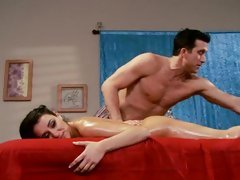 Sassy Charley Follow gets a sexy rub down from a hunk