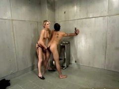Hot femdom in jail cell includes ding-dong