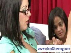 Cfnm cutie with glasses and large pantoons gets cum on her pantoons