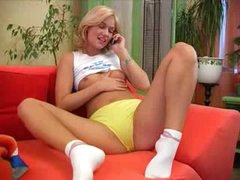 blonde making pleased time with marital-device