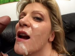 Ginger Lynn receives her face plastered with cum