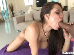 Yurizan Beltran shoves a stiff wang down her mouth