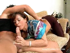 Super hot Devon Michaels deliciously bonks her lover's wang with her throat