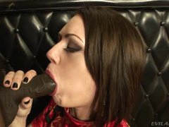 Sarah Shevon shoves a huge dick down her moist throat