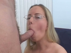 Blond in glasses sucks schlong and gets fur pie pounded