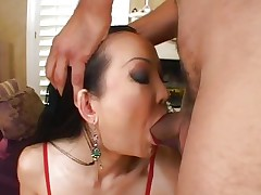 Sassy Ange Venus receives her juicy mouth hammered