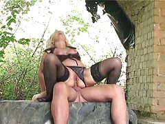 Blonde granny banged hard outdoors by huge juvenile cock in butt