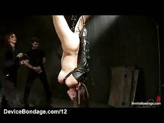 Strung up upside down bound babe face hole screwed