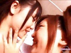 2 Beauties In Aerobic Suit Kissing Rubbing Pantoons In The Washroom