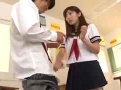 Schoolgirl On Her Knees Giving Blowjob Cum To Throat And Face In The Classroom