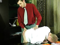 Sexy-assed guy gets served homosexual anal right on his working desk in the office