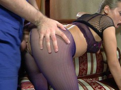Pretty sweetheart in crotchless purple tights worshipped and screwed by a handyman