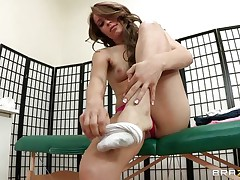 Hot babe Alyssa Branch is taking all her clothing off and receives willing for a hot massage. U can watch her lengthy legs, her fine tits and her hawt body getting oiled and receives willing for some treatment. Do you think she is going to receive some cock for being a fine girl?